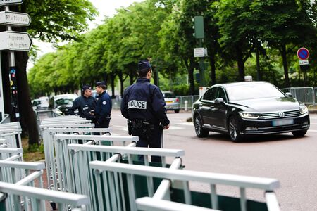 Security - French police control on the street