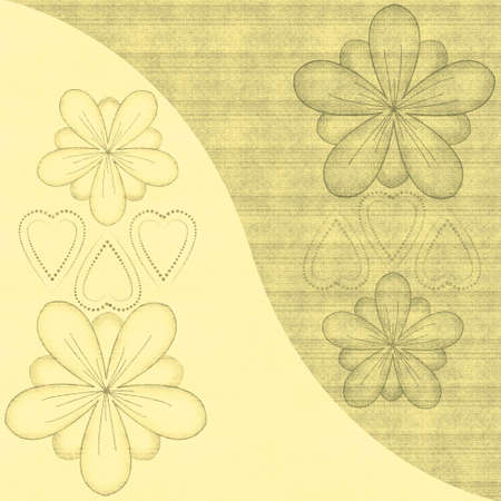 Beautiful illustrated flower design with background pattern photo