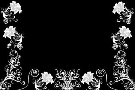 tenderly: Beautiful illustrated flower background design in black white with space for your text Stock Photo