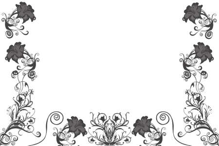 Black illustrated flower background design with space for your text