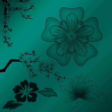 Beautiful illustrated flower background design with gradient photo