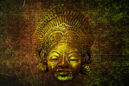 Grunge background with old culture-historic mask and space for your text photo