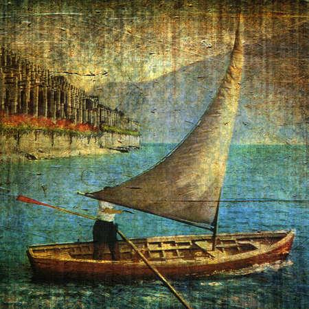 Ilustración vintage con vela de barco y grunge de fondo Foto de archivo