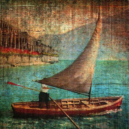 Vintage illustration with sailing ship and grunge background illustration