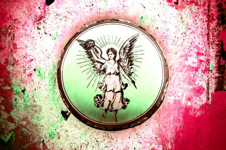 Old tin box about 1910 with angel on grunge background photo