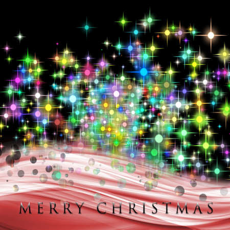 Fantastic Christmas wave design with glowing stars photo