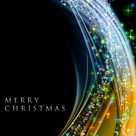 christmas backgrounds: Fantastic Christmas wave design with glowing stars