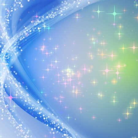 Fantastische Weihnachten Wave-Design mit Schneeflocken und leuchtende Sterne Standard-Bild - 16585284