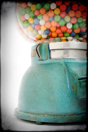 automate: Old chewing gum vending machine about 1950 on grunge