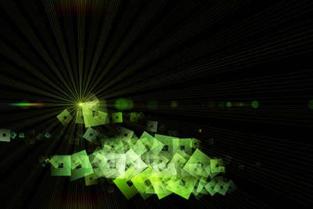progressed: Futuristic eco square background design illustration with light