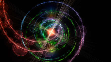 progressed: Futuristic particle background design illustration with lights Stock Photo