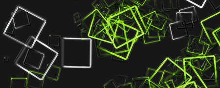 Abstract square panorama glass 3D background design illustration 写真素材
