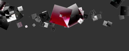 Abstract square panorama glass 3D background design illustration Banco de Imagens