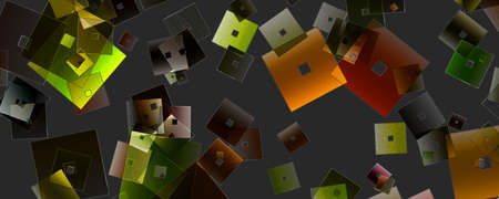Abstract square panorama glass 3D background design illustration Stock Photo