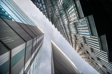 magnificence: Low angle view of tall corporate glass buildings. Southwark, London