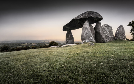 Pentre Ifan. Prehistoric megalithic communal stone, burial chamber which dates from approx 3500BC in Pembrokeshire, Wales, UK Stock Photo