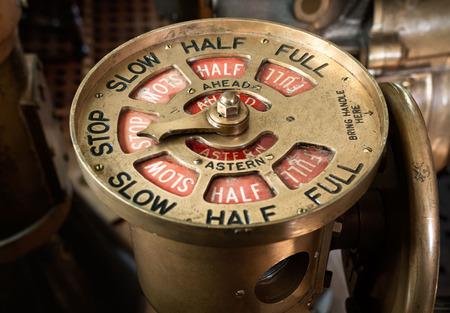 Antique brass steam ship telegraph set to stop Stock Photo