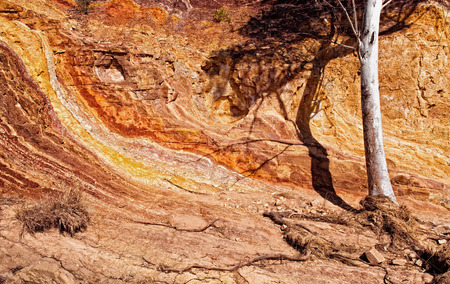 Colorful sedimentary rock formations. West MacDonnell Ranges, Northern Territory Central Australia