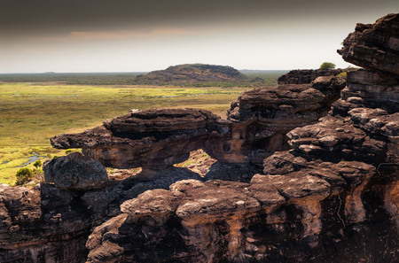 Dusk at the top of Ubirr rock looking down at the Nadab floodplains. Northern Territory, Australia Stock Photo