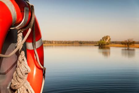 Focus on water safety. Yellow Water billabong in golden dawn light, Northern Territories, Australia Stock Photo