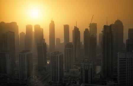 Dubai Marina at sunset with heat haze. May 2017