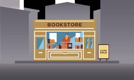 Old small independent bookstore with no costumers on the closing day sale