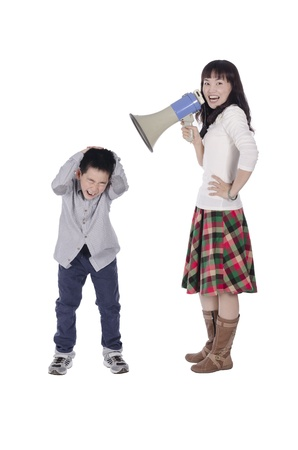 Mother yell at child with megaphone over white background