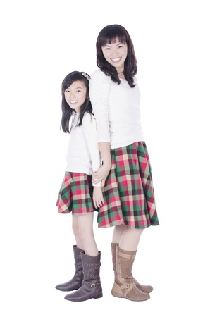 Happy mother and daughter over white background photo