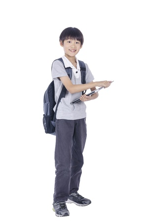 Smart student back backpack and notebook over white background photo