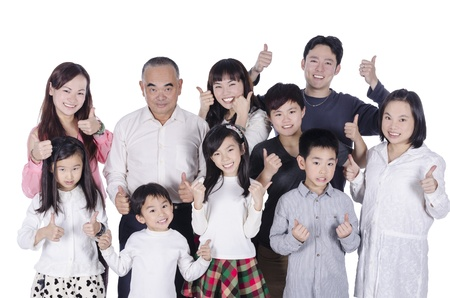a generation: Multi generation family thumbs up Stock Photo