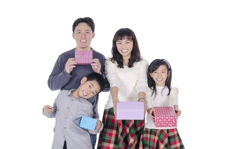family smiling holding gift photo