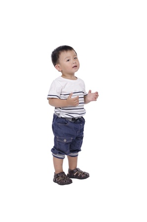 one years old Smart boy standing