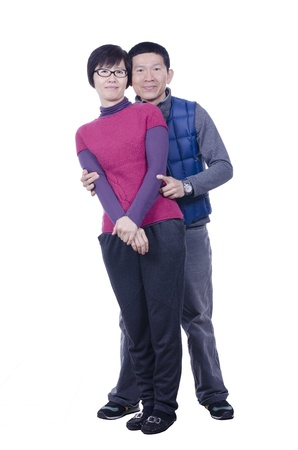 Portrait of married couple on white background photo