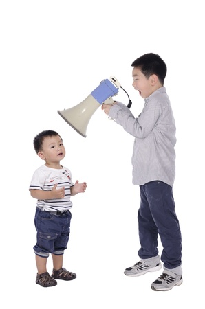Child yell at megaphone