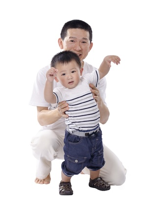 Father and child playing photo