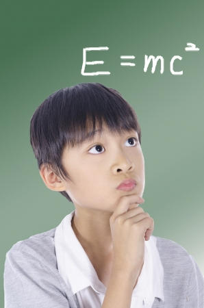 School boy is thinking the Relativity