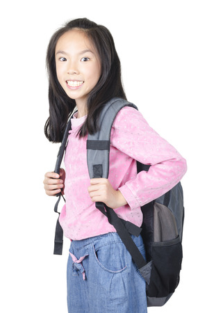 Smiling  student woman standing with backpack photo