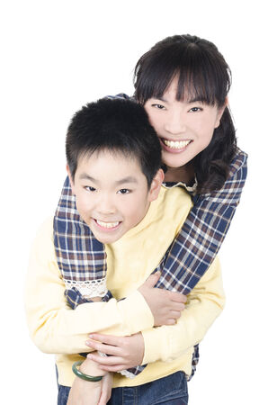 Happy smiling young mother with son Stock Photo