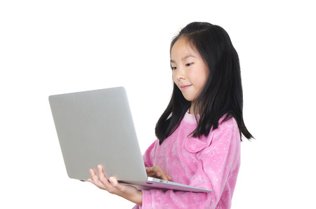 Teenager girl with digital tablet photo