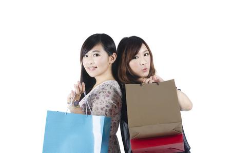 Fashion women shopping on white background Stock Photo