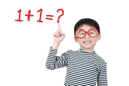 Smart cute boy thinking math question