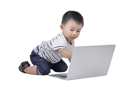 Smart boy with a computer Stock Photo