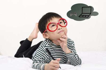 Smart boy thinking gift