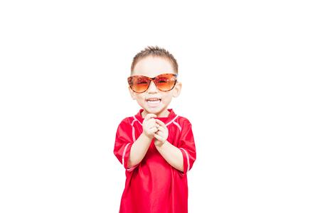Smart cute boy wearing sunglass