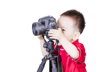 stool test: Smart kid playing camera isolated background