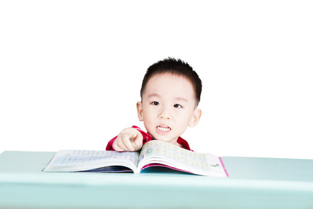Smart kid learn at classroom Stock Photo