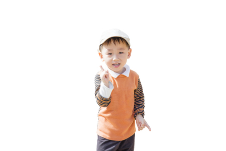 Smart boy pointing on background
