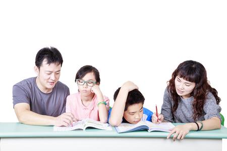 Happy family study happy together Stock Photo