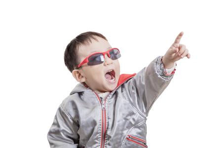 Smart kid happy point away