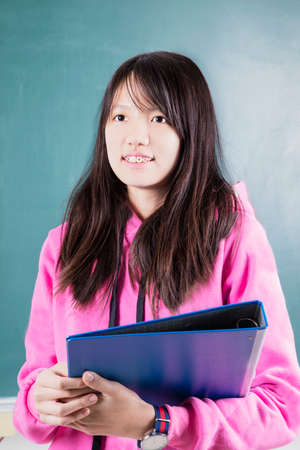 moderm: Happy girl student with braces Stock Photo